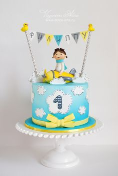 cake for a young pilot - Cake by Alina Vaganova Cupcakes, Cupcake Cakes, One Tier Cake, Planes Cake, Baby Birthday Cakes, Boy Birthday, Sugar Cake, Festa Party, Cakes For Boys