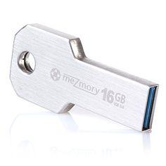 """USB Stick 3.0 16GB Speicherstick [Mini USB Edelstahl] """"Key"""" meZmory® 16 GB USB Flash Drive 3.0 Schlüssel-Anhänger Ultra Klein [Wasserdicht und Stoßfest] Silber"""