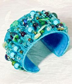 Bead Wrapped Cuff Bracelet   Teal and Turquoise by ArtQueenClaire, $35.00