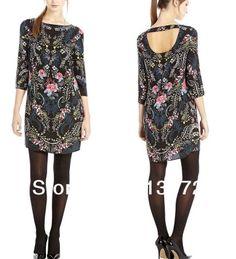 QZ1027 New Fashion Ladies' Elegant Vintage Oriental floral print Dress O neck dress casual slim evening party brand design $455,33