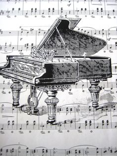 Vintage Sheet Music Print Antique Piano by SpecialThingsShop