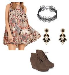 """A simple casual but fashionable outfit! This outfit has an umgee sleeveless dress, a lace choker, earrings, and wedge booties! Shop this outfit at our website! Don't forget to stop by to check out our new spring collection! #fashionable"" by cindytjj on Polyvore featuring Journee Collection, Design Lab and Vera Bradley"
