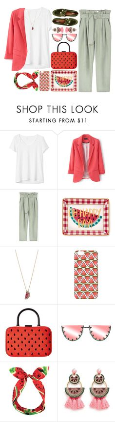 """2219"" by mykatty091 ❤ liked on Polyvore featuring Gap, MANGO, Draper James, Betsey Johnson, Alice + Olivia, Lulu in the Sky, Elizabeth Cole, 8, watermelon and pants"