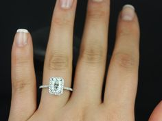 Rosados Box Brianna White Gold Radiant FB Moissanite and Diamonds Halo Engagement Ring
