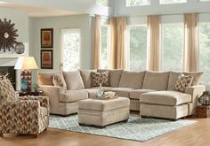 Brenton Court Platinum 3 Pc Sectional Living Room-Living Room Sets (Beige)