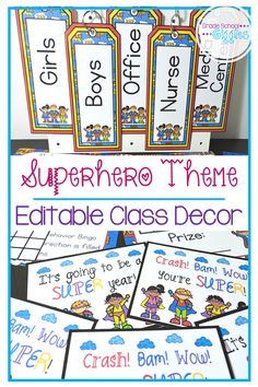 Are you ready to set up your classroom with an awesome superhero theme? If you're looking for superhero decorations, you'll love this decoration pack full of fun superhero printables and editable with everything your room will need from a welcome banner to a newsletter template. It has everything you'll need for your walls including an alphabet to display a calendar, a birthday display, editable signs, job charts, editable labels, and pennants for your bulletin boards.