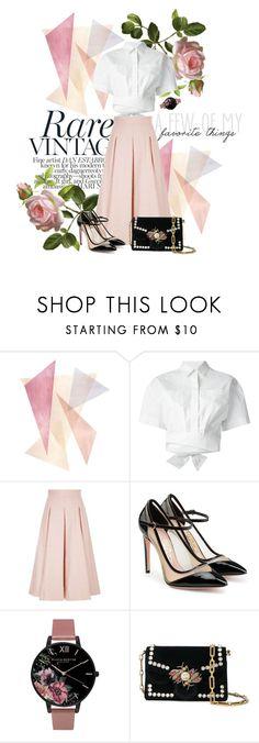 """Pastel skirt #pink"" by katherineelisa ❤ liked on Polyvore featuring MSGM, Temperley London, Salvatore Ferragamo, Olivia Burton and Proenza Schouler"