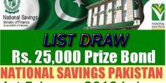 25000 Prize Bond List Draw 1st February 2016 Lahore