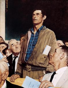 Norman Rockwell Painting ★ Save Freedom of Speech, Buy War Bonds War Bond Sales Poster and painting to print from 1943 Four Freedoms Series World War II, U. patriotic artist Norman Rockwell Four Freedoms war bonds sales poster public domain i Norman Rockwell Prints, Norman Rockwell Paintings, Rockwell Kent, Norman Rockwell Four Freedoms, Peintures Norman Rockwell, The Saturdays, Munier, Saturday Evening Post, Tuesday Afternoon