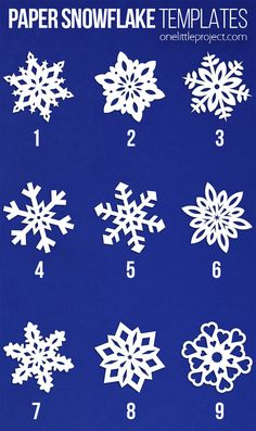 Paper snowflakes are SO SIMPLE and super inexpensive to make Winter Activities For Kids, Winter Crafts For Kids, Paper Crafts For Kids, Foam Crafts, Paper Snowflake Template, Paper Snowflakes, Origami Templates, Box Templates, How To Make Snowflakes