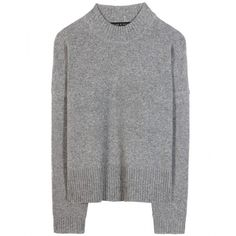 Rag & Bone Erica Wool and Cashmere Sweater ($215) ❤ liked on Polyvore featuring tops, sweaters, outerwear, shirts, grey, grey wool sweater, grey shirt, wool shirt, cashmere sweater and grey top