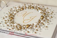 White & gold pearls and crystals wedding guest book от DiAmoreDS