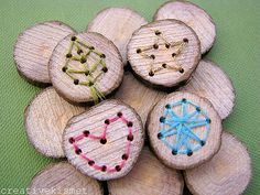 "embroidered wood bits - ooh... I see plenty of brooches in my near future... :D I love how they're very kid friendly. I'd drill the holes and let them ""embroider""."