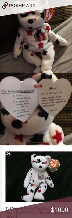 Very rare Beanie Baby. This Beanie named Glory is rare. Her tag says Born July 4, 1997.  But her rear tag says 1998.  She is worth $$$ Beanie Other