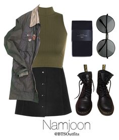 """""""Military/ Army Inspired: Namjoon"""" by btsoutfits ❤ liked on Polyvore featuring WearAll, Dr. Martens, Vintage, Zara and MLC Eyewear"""