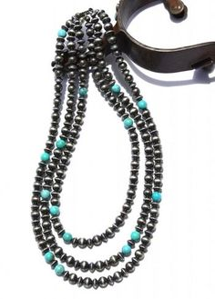 Jewelry :: 3 STRAND NAVAJO PEARL AND TURQUOISE NECKLACE! - Native American Jewelry Ladies Western Wear Double D Ranch Ladies Unique High End...