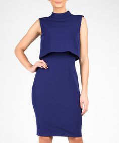 Royal blue double layer high neck dress Sale - MARMURI Sale