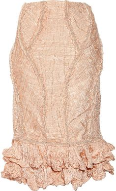 ALEXANDER MCQUEEN Embellished Crinkled Organza and Copper Thread Skirt