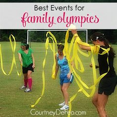 Best Events for Family Olympics - Get some families together and have your own family olympics! It's a great way to have fun and build relationships and memories at the same time! Family Reunion Games, Family Events, Family Games, Group Games, Family Reunions, Family Picnic Games, Family Family, Family Outdoor Games, Couple Games