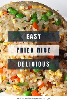 The best & healthy recipes of Easy Delicious Fried Rice Rice Breakfast Recipes, Vegetarian Rice Recipes, Healthy Asian Recipes, Chicken Rice Recipes, Asian Dinner Recipes, Easy Rice Recipes, Recipe Chicken, Fried Rice Recipe Indian, Best Fried Rice Recipe