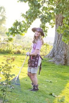Gardening apron, top, hat and boots. Perfect outfit!  www.GardenGirlUSA.com