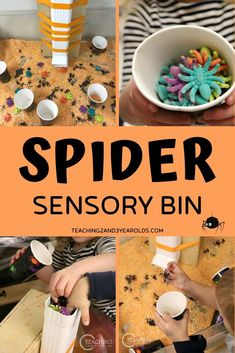 This spider sensory bin is a fun way to work on toddler and preschool fine motor skills while dropping spiders down the water spout. A fun addition to your fall theme! Fall Sensory Bin, Sensory Bins, Sensory Activities, Sensory Play, Fall Activities For Toddlers, Autumn Activities, Toddler Preschool, Toddler Crafts, Incy Wincy Spider Activities