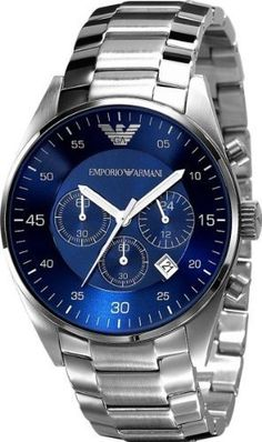 3717acea59c0 Emporio Armani Men s AR5860 Silver Stainless-Steel Quartz Watch with Blue  Dial