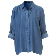 BUTTON BACK DENIM SHIRT (150 TND) ❤ liked on Polyvore featuring tops, shirts, blouses, blusas, sleeve shirt, blue top, denim top, long-sleeve shirt and long sleeve tops