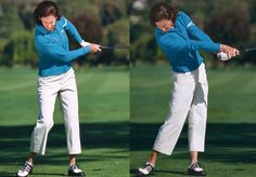 Lots of women lose distance by not releasing, or turning their arms over, properly through impact. When you don't release properly, your left elbow goes up after impact, your left palm faces the ground and your weight stays back on your right side.