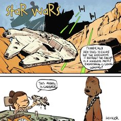 This is another series of Star Wars: The Force Awakens comics in the style of Bill Watterson's Calvin And Hobbes (previously: the first part) by artist Brian Kesinger. Calvin Und Hobbes, Star Wars Quotes, Star Wars Humor, Star Wars Comics, Star Wars Art, Marvel Comics, Luke Skywalker, Geeks, Starwars