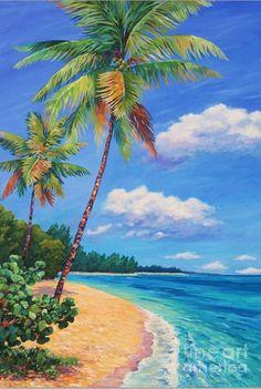 Grand Cayman Wall Art - Painting - Two Palms In Paradise by John Clark Beach Mural, Beach Art, Landscape Art, Landscape Paintings, Sunset Painting Easy, Caribbean Art, Hawaiian Art, Seascape Paintings, Palm Tree Paintings