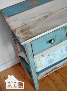 Antique / aged / distressed reclaimed wood multi color furniture refinishing technique - tutorial by Ana White