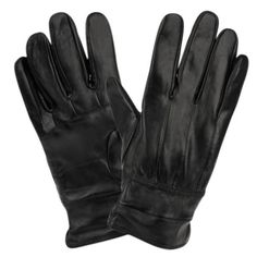 Men's Genuine Leather Glove w/Faux Fur Lining and Elastic Cuff