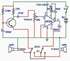 In this intercom schematic, the 8 ohm speakers is used as microphone and listening speaker. The potentiometer controls volume and the total gain can Electronics Mini Projects, Electronics Basics, Electronic Circuit Projects, Cool Electronics, Electronic Engineering, Electrical Engineering, Electrical Circuit Diagram, Electrical Wiring, Electronic Schematics