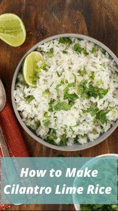 Chipotle Rice Recipes, Seasoned Rice Recipes, Basmati Rice Recipes, White Rice Recipes, Cilantro Recipes, Easy Rice Recipes, Mexican Lime Rice Recipe, Salmon Recipes, Coconut Lime Rice Recipe