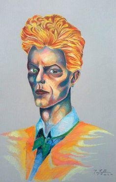 """""""Serious Moonlight/ David Bowie"""", colour pencil on paper, 40x30cm, 2016"""