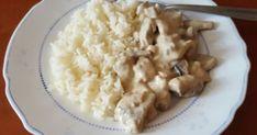 Sajtos-tejszínes csirkefalatok recept képpel. Hozzávalók és az elkészítés részletes leírása. A Sajtos-tejszínes csirkefalatok elkészítési ideje: 25 perc Gym Food, Risotto, Potato Salad, Macaroni And Cheese, Potatoes, Ethnic Recipes, Mac And Cheese, Potato