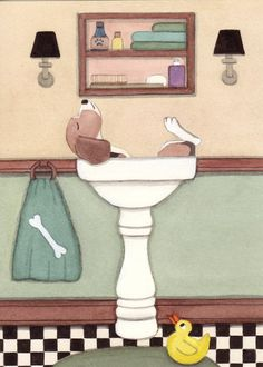 Beagle fills sink at bath time / Lynch signed folk art print