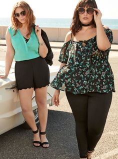 Deluxe Stretch Ruched Sleeved Blazer / Georgette Pocket Tank Top / Scalloped Edge Shorts / Metal Cat Eye Sunglasses / Double Strap Mini Wedges (Wide Width)/  Cage Front Mesh Bralette / Butterfly Print Chiffon Ruffled Cold Shoulder Top / Skinny Pant - Black All-Nighter Ponte / Plus Size Clothing / TORRID