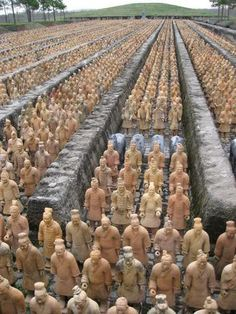 """Terracotta Warriors  Xian - China.  """"One of the most sensational archaeological discoveries of the twentieth century (1974), the army of 2,220 year old terracotta soldiers was carved life-size, with features and different facial expressions, to guard the mausoleum of the first emperor of China, Qin Shi Huang and accompany him in the afterlife."""" - Chat Travel"""