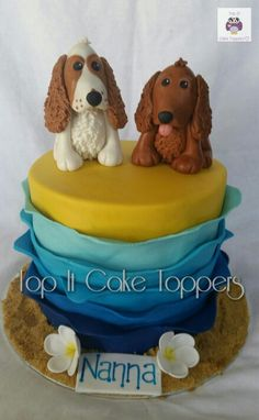 Beach themed birthday cake. Cocker spaniel cake toppers. Dog cake.