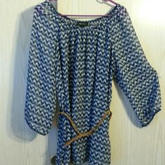 """Sheer belted blouse Very nice. Elastic collar and sleeves. Belt is 39"""" without buckle. Excellent condition.  No visible flaws. AB Studio Tops Blouses"""