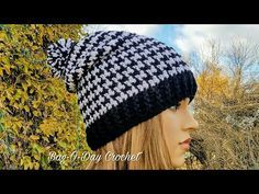 2f4627cca7386d HOW TO CROCHET - SLOUCHY HAT   UNISEX HOUNDSTOOTH BEANIE   BAGODAY CROCHET  Tutorial #438