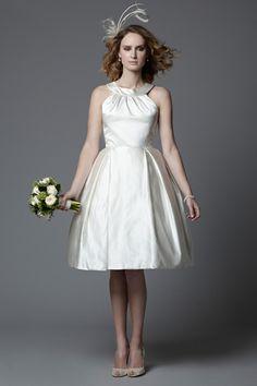 1950's vintage inspired style Rosie silk Duchess satin cocktail length wedding dress. Vintage inspired wedding dress made in England designer wedding dresses simple wedding dresses.