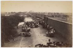Jamuna Bridge Delhi, by Dayal, Lala Deen, ca. 1875-1889, Held by DeGolyer Library, SMU, from the Bengal Nagpur Railroad and Views of India Collection #railroads #bridges #railroads #BengalNagpurRailway #IndiaYamunaRiver