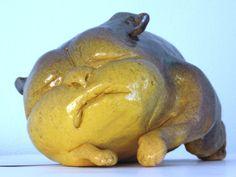 Malý spáč šamotová hlína, glazury, barvítko, délka - 21 cm