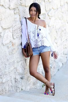 Get this look: http://lb.nu/look/8331733  More looks by Konstantina Antoniadou: http://lb.nu/konstantina_a  Items in this look:  Miss Sixty Denim Shorts   #chic #preppy #street #santorini #offshoulder #streetstyle #pretty #casual #denim