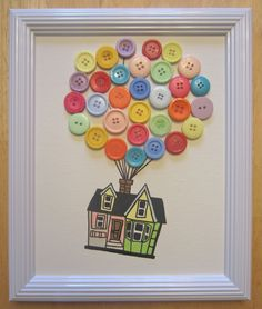 Up, Up and Away! |house from the movie Up with button balloons.