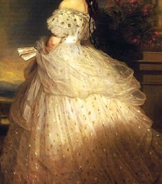 Traveling through history of Art...Empress Elisabeth of Austria in Courtly Gala Dress with Diamond Stars, detail, by Franz Xaver Winterhalter, 1865.