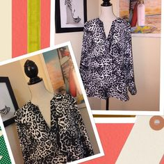 Cheetah Print Blouse Cheetah print blouse with three fourth sleeves. Like new. Used once. Tops Blouses